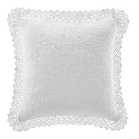 Laura Ashley Crochet White Décorative Pillow