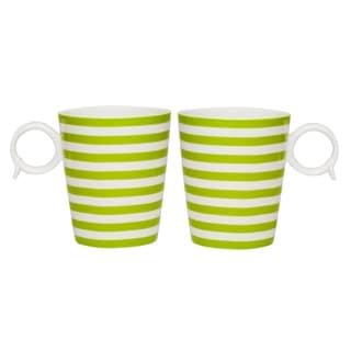 Red Vanilla Freshness Lines Olive Mug 12 oz Set / 2