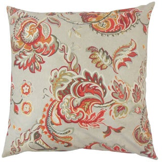 Taline Floral Down and Feather Filled 18-inch Throw Pillow