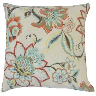 Qimat Floral Linen Down and Feather Filled Throw Pillow