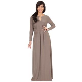 KOH KOH Women's Long Sleeve Key Hole Slimming Elegant Maxi Dress