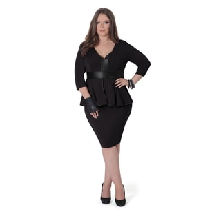 Full Figured Fashionista Women's Peplum Plus Size Dress