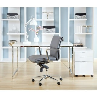 Gilbert Desk - White Lacquer/Chrome