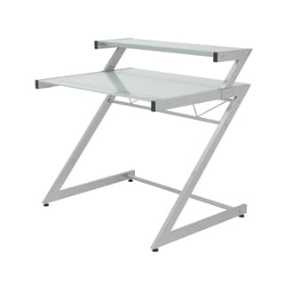 Z Deluxe Desk Small + Shelf - Aluminum/Frosted Glass