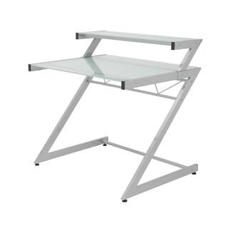 Z Deluxe Desk Small + Shelf - Aluminum/Frosted Glass