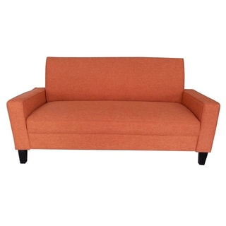 Adeco Orange Fabric Fiber Soft Cushion Sofa Lounge with Arms and Wood Legs