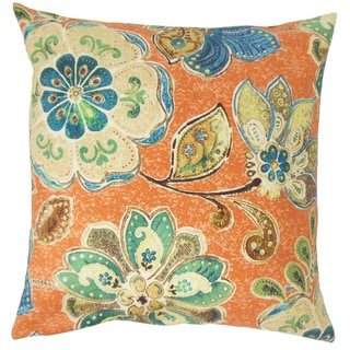 Behitha Floral Down and Feather Filled 18-inch Throw Pillow