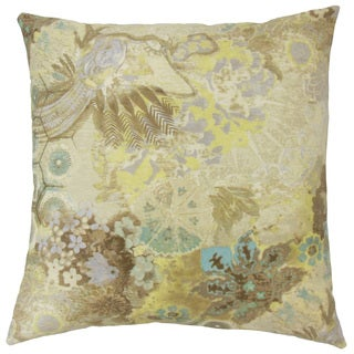 Feleti Floral Down and Feather Filled 18-inch Throw Pillow