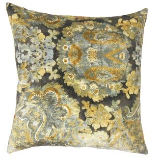 Gaurav Floral Down and Feather Filled 18-inch Throw Pillow