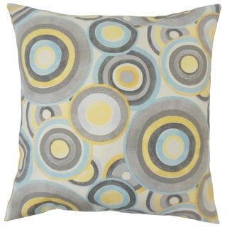 Huey Geometric Down and Feather Filled 18-inch Throw Pillow