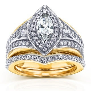 Annello by Kobelli 14k Two-Tone Gold 1 1/6ct TDW Marquise Diamond Bridal Set