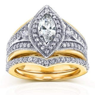 Annello by Kobelli 14k Two-Tone Gold 1 1/6ct TDW Marquise Diamond Bridal Set (H-I, I1-I2)