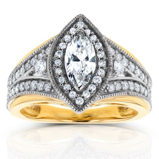 Annello by Kobelli 14k Two-Tone Gold 1ct TDW Marquise Diamond Ring (H-I, I1-I2)