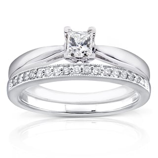 Annello By Kobelli 14k White Gold 1 3ct TDW Princess Solitaire And Pave Band Diamond Bridal Rings Se