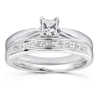 Annello by Kobelli 14k White Gold 1/2ct TDW Princess Solitaire and Channel Diamond Band Bridal Rings Set
