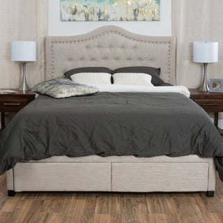 Dante Upholstered Tufted Fabric Bed Set with Drawers by Christopher Knight Home