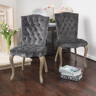 Moira Velvet Dining Chair (Set of 2) by Christopher Knight Home|https://ak1.ostkcdn.com/images/products/10996223/P18015984.jpg?impolicy=medium