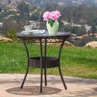 Figi Outdoor 27-inch Wicker Glass Table by Christopher Knight Home