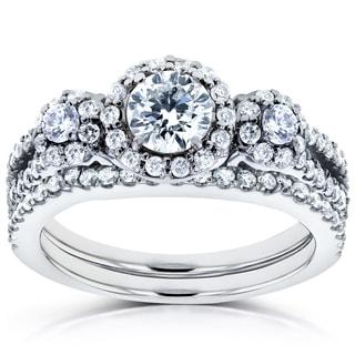 Annello by Kobelli 14k White Gold 1 1/5ct TDW Three Stone Diamond Bridal Set