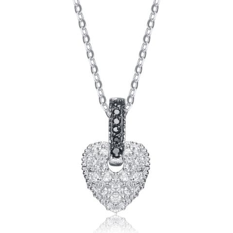 Collette Z Sterling Silver White Cubic Zirconia Heart Bedazzled Pendant
