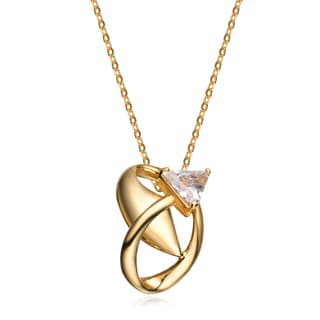 Collette Z Sterling Silver White Angled Cubic Zirconia Gold Plated Pendant