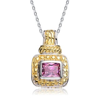 Collette Z Sterling Silver Pink Rectangular Cubic Zirconia Pendant