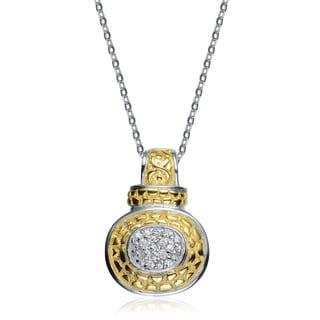 Collette Z Sterling Silver White Cubic Zirconia Stones Gold Plated Pendant