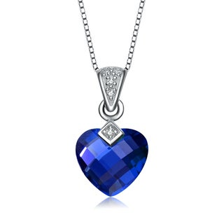 Collette Z Sterling Silver dark blue Heart Cubic Zirconia Pendant