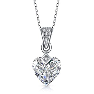 Collette Z Sterling Silver clear Heart Cubic Zirconia Pendant