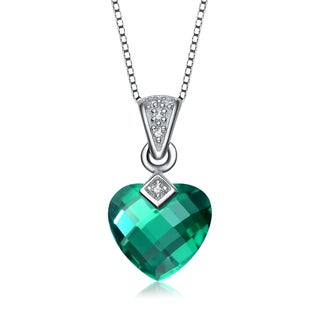Collette Z Sterling Silver green Heart Cubic Zirconia Pendant