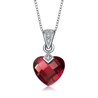 Collette Z Sterling Silver Red Heart Cubic Zirconia Pendant