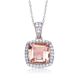 Collette Z Sterling Silver Square Pink And White Cubic Zirconia Pendant