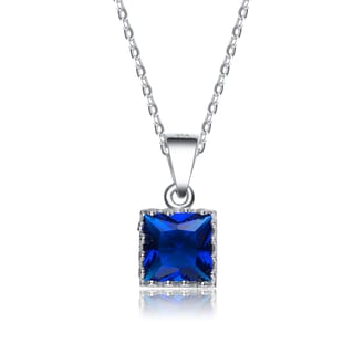 Collette Z Sterling Silver Square Blue Cubic Zirconia Pendant