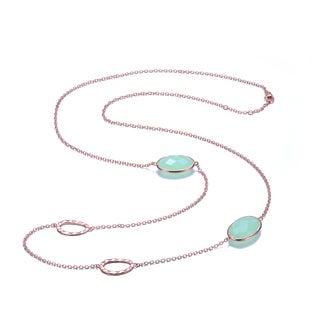 Collette Z Sterling Silver light green Cubic Zirconia Gemstones Necklace