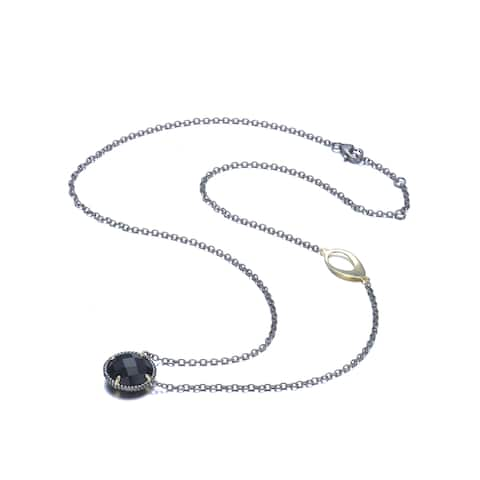 Collette Z Sterling Silver Large Black Cubic Zirconia Necklace