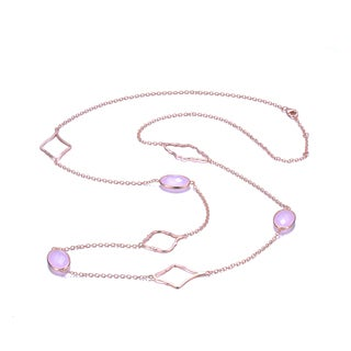 Collette Z Sterling Silver pink Cubic Zirconia Double Necklace