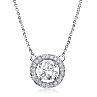 Collette Z Sterling Silver Large White Cubic Zirconia Necklace