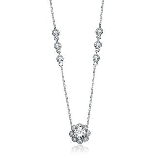 Collette Z Sterling Silver White Cubic Zirconia Flower Pendant Necklace