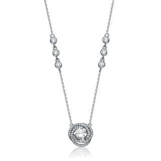 Collette Z Sterling Silver White Cubic Zirconia Talisman Necklace