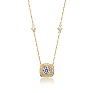 Collette Z Sterling Silver White Cubic Zirconia Gold Frame Necklace