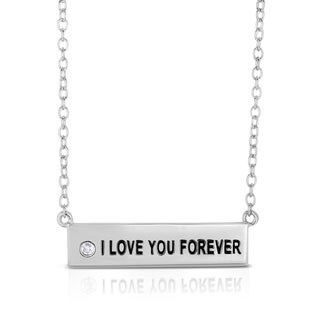 Collette Z White Zirconia Nameplate Necklace