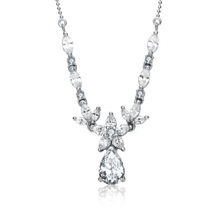 Collette Z Sterling Silver White Cubic Zirconia Stones Necklace