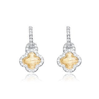 Collette Z Sterling Silver Gold Color Plating Cross Dangling Earrings