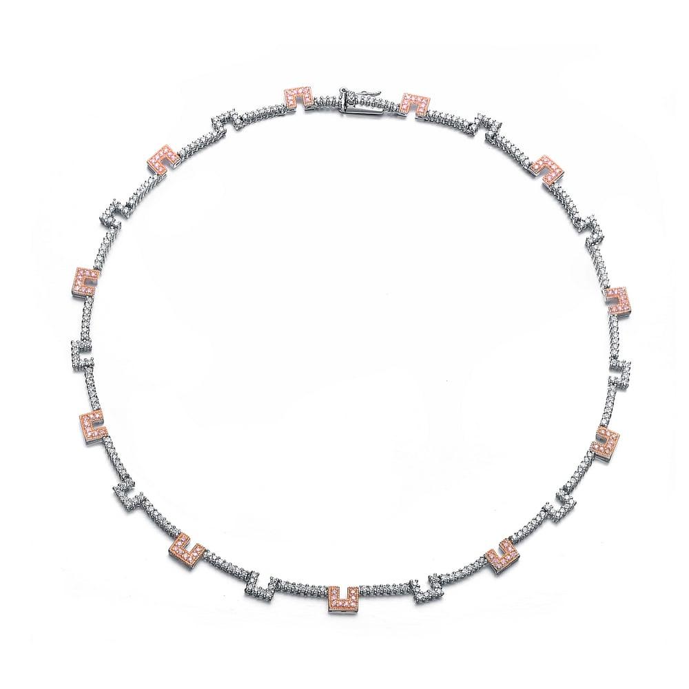 Collette Z Sterling Silver Pink & Blue Coloured Gaps Necklace - White (CZ NECKLACE)