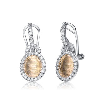 Collette Z Sterling Silver Oval Gold Color Plating White Cubic Zirconia Earrings