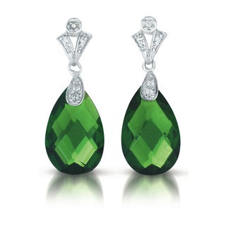 Collette Z Sterling Silver Green And Clear Cubic Zirconia Earrings