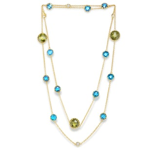 Collette Z Sterling Silver Oil Green and Agave Blue Stones Double Tiered Necklace