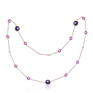 Collette Z Sterling Silver Purple and Pink Stones Trendy Necklace