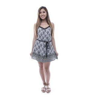 Soho Women's White Sleeveless Printed T Back Dress