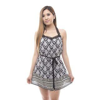 Soho Women's Black Sleeveless Printed T Back Dress